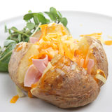 Baked Potato with Ham and Cheese Stock Image