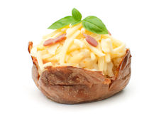 Baked potato. Jacket oven baked potato with melting cheese and bacon pieces royalty free stock photos