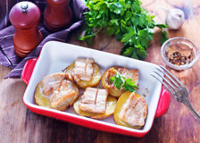 Baked potato with lard Royalty Free Stock Image