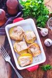 Baked potato with lard Stock Photos