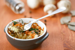 Baked potato with mushrooms and cheese Stock Photos