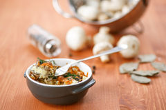 Baked potato with mushrooms and cheese Royalty Free Stock Photography