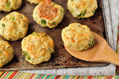 Baked potato patties with turkey, cheese and peas Royalty Free Stock Photography