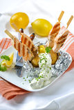 Baked potato with salmon royalty free stock photography
