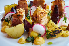 Baked potato slices and beets with vegetables and roast pork bacon close up Royalty Free Stock Photos