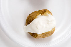 Baked Potato with Sour Cream Stock Photos