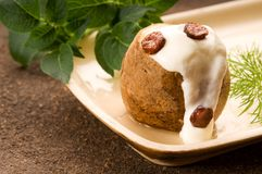 Baked potato with sour cream, greaves and dill Royalty Free Stock Photo