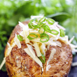 Baked Potato Stuffed with Cheese and Onion stock image