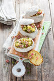 Baked potato stuffed with ham Royalty Free Stock Image
