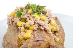 Baked Potato with Tuna. Baked potato stuffed with tuna, sweetcorn and mayonnaise Stock Images