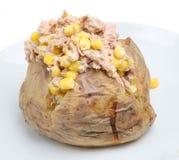 Baked Potato with Tuna. Baked potato stuffed with tuna, sweetcorn and mayonnaise Stock Photo