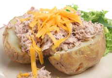 Baked Potato with Tuna and Cheese Royalty Free Stock Photography