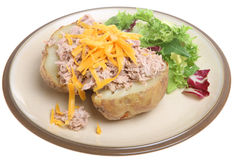 Baked Potato with Tuna & Cheese Stock Photo