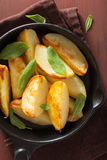 Baked potato wedges in black frying pan Stock Image