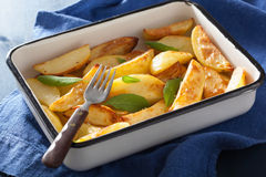 Baked potato wedges in enamel baking dish Royalty Free Stock Images