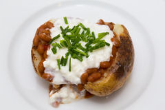 Baked Potatoe with Beans, Cottage Cheese and Chives. Closeup to a Baked Potatoe with Beans, Cottage Cheese and Chives Royalty Free Stock Images