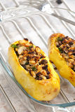 Baked  potatoes. Chicken meat with black beans baked in potatoes Stock Image