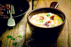 Baked potatoes bacon soup. Royalty Free Stock Image