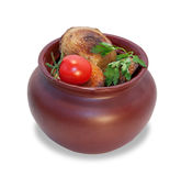 Baked potatoes with cherry tomatoes in pot  Stock Photos