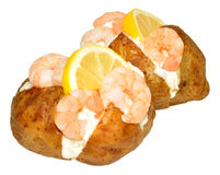 Baked Potatoes filled Prawns And Mayonnaise Stock Images