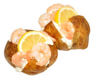 Baked Potatoes filled Prawns And Mayonnaise Stock Photo