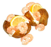 Baked Potatoes filled Prawns And Mayonnaise Stock Photos