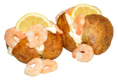 Baked Potatoes filled Prawns And Mayonnaise Royalty Free Stock Photography