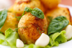 Baked potatoes with garlic Royalty Free Stock Images