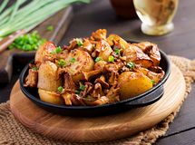 Baked potatoes with garlic, herbs and fried chanterelles. In a cast iron skillet royalty free stock photos