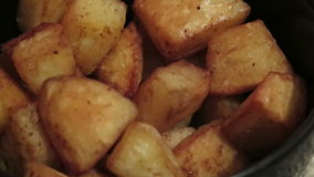 Baked Potatoes. General view of a dish with baked potatoes stock video