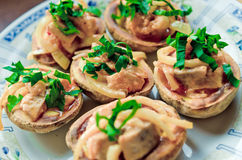 Baked potatoes with herring Stock Image