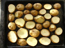 Baked potatoes on the old pan. Stock Photography