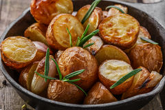 Baked potatoes in a pan Stock Photography