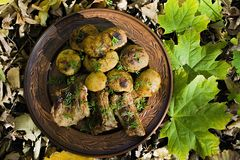 Baked potatoes with pork ribs on the fire laid out on a clay plate, decorated with greens. Dinner in nature stock images