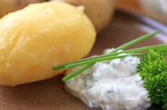 Baked potatoes with quark Stock Photo
