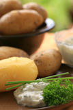 Baked potatoes with quark Stock Images