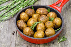 Baked potatoes with rosemary in frying pan horizontal Royalty Free Stock Images