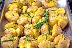 Baked potatoes with rosemary, garlic and pepper Royalty Free Stock Photo