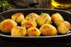 Baked potatoes with rosemary. Stock Photo