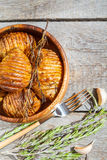 Baked potatoes with rosemary Royalty Free Stock Images