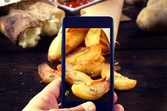 Baked potatoes shoot Royalty Free Stock Images