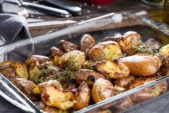 Baked potatoes whole in their skins with thyme rosemary and garlic. royalty free stock photos