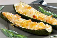 Baked prawns on zucchini Stock Photography