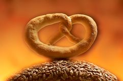 Baked pretzel Stock Images