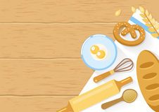 Baked Products And Cooking Tools Composition. With bagel wheat eggs in bowl on wooden background vector illustration Stock Image