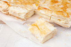 Baked puff pastry with cheese Stock Image