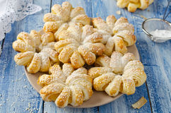 Baked puff pastry rings of pineapple Royalty Free Stock Photo