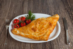 Baked puff on the plate Royalty Free Stock Image