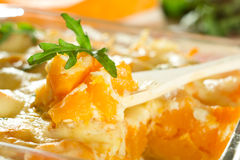 Baked pumpkin. With cheese sauce Royalty Free Stock Images