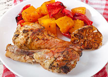Baked pumpkin with chicken Royalty Free Stock Image